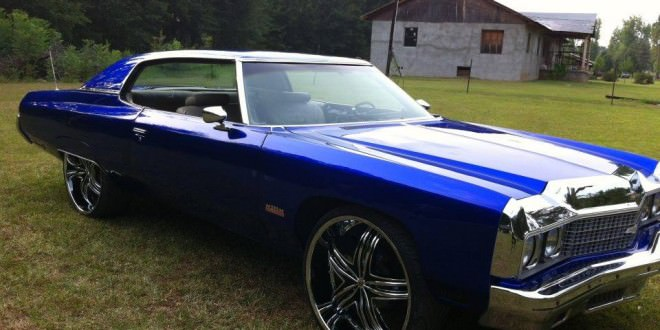 BLUE CANDY PAINTED CHEVY DONK ON 28'S - Big Rims - Custom Wheels