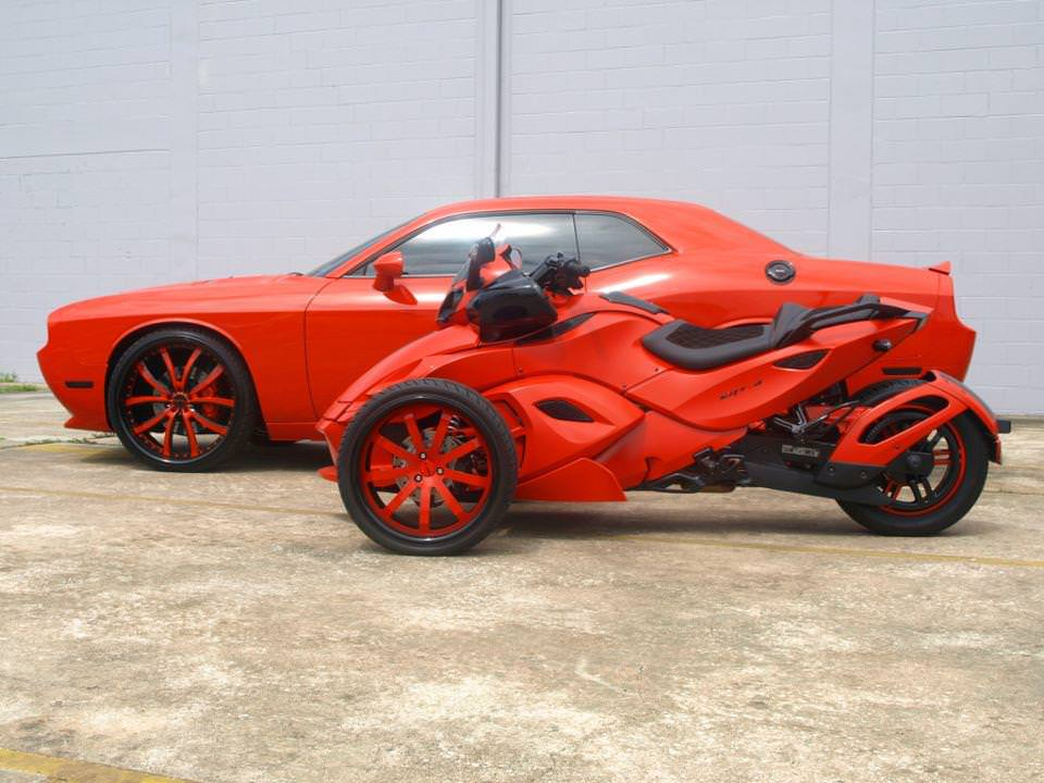 Dodge Challenger on 26's & Sick Can Am Spyder Motorcycle with Custom ...