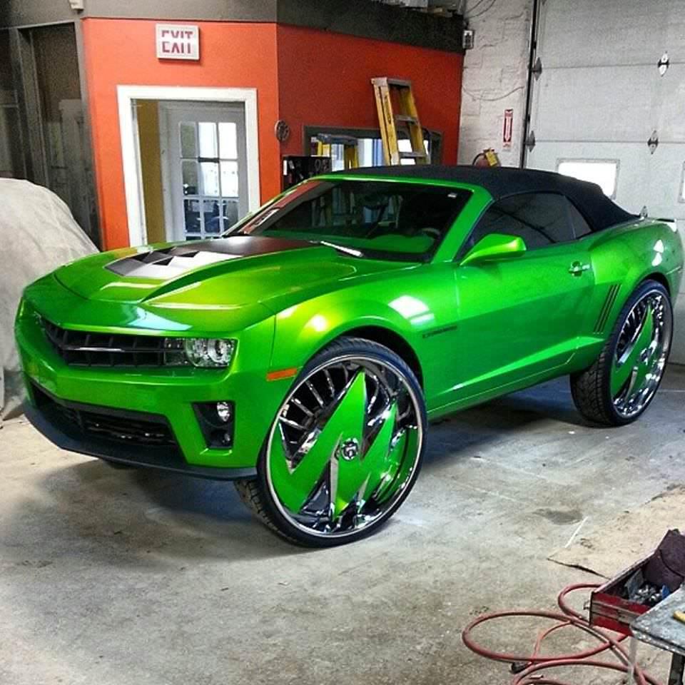 Green Camaro On 32 Inch Rims Big Rims Custom Wheels