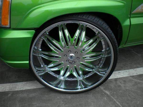 green cadillac escalade ext  big rims custom wheels