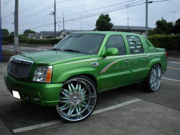 Mean Green Cadillac Escalade Ext 32 S Big Rims Custom