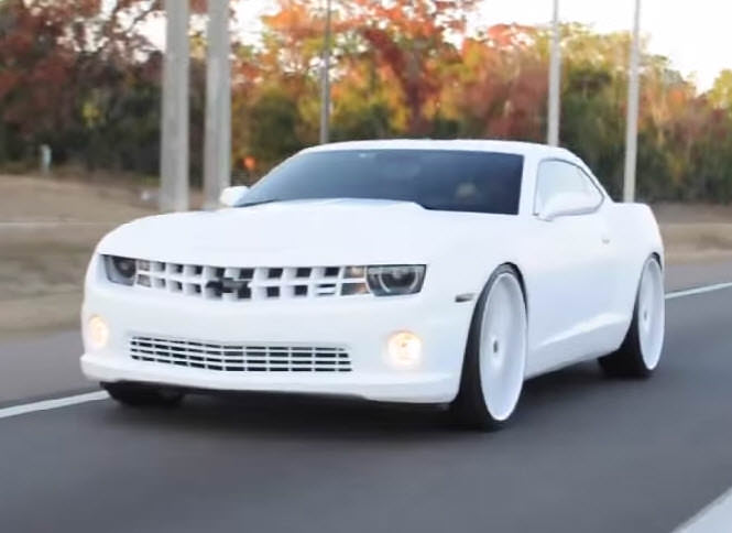 Lebron James All White Camaro Big Rims Custom Wheels