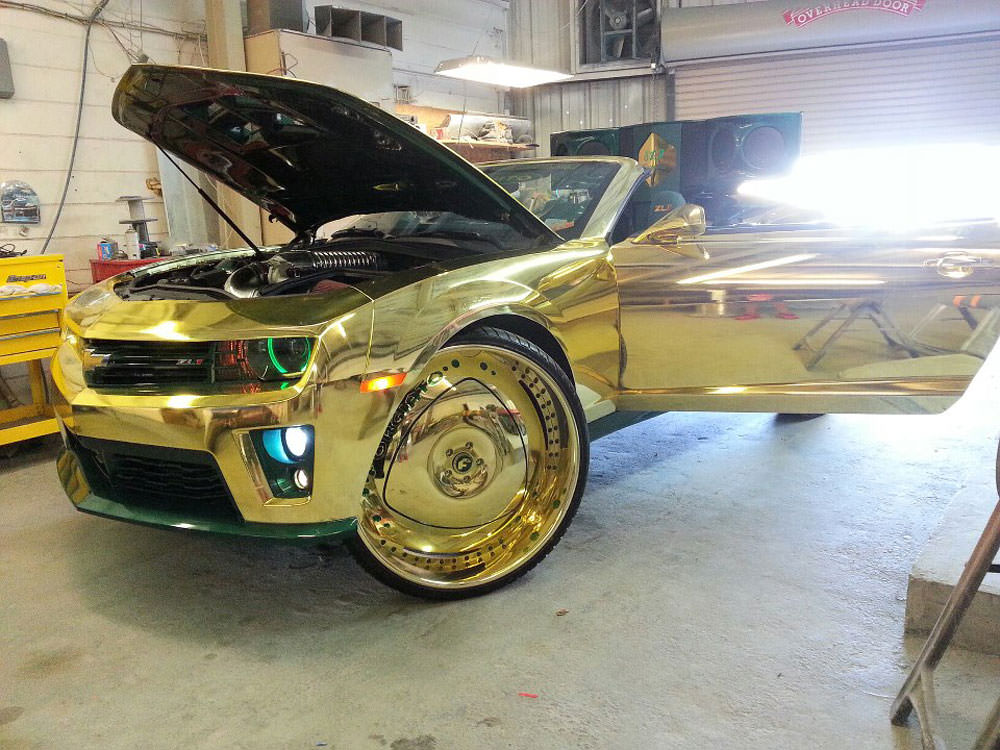 All Gold Everything King Camaro Zl1 On 32 S Big Rims