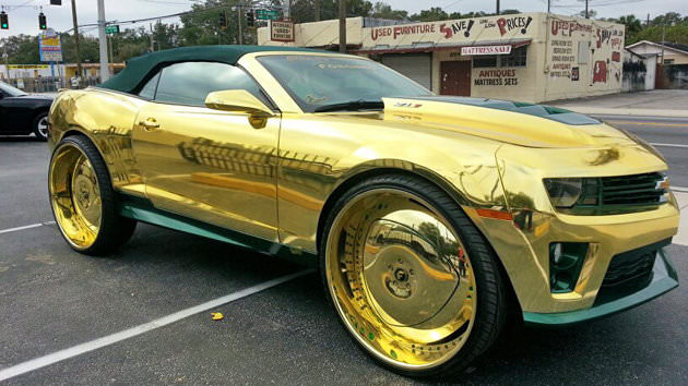 All Gold Everything King Camaro Zl1 On 32 S Big Rims Custom Wheels
