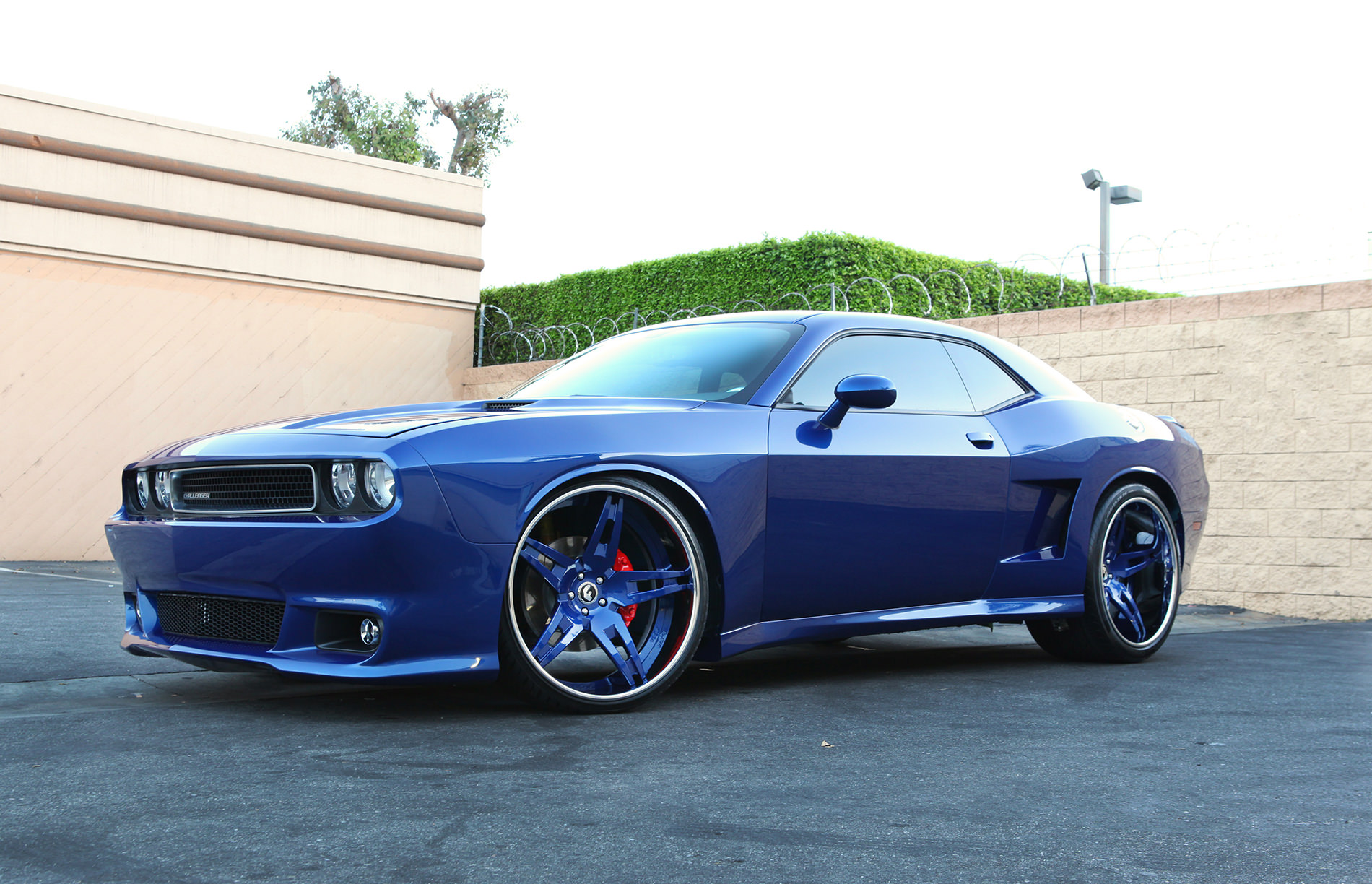 Blue Dodge Challenger On Forgiato S With A Wide Body Kit