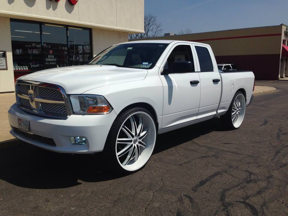 White On White Dodge Ram On 30 S Big Rims Custom Wheels