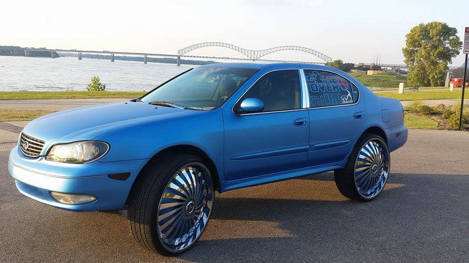 "2004 Infiniti i35...on 28"" DUB SWYRLS FLOATERS... WRAPPED METALLIC BLUE...WITH 16 TVs - Big Rims ..."
