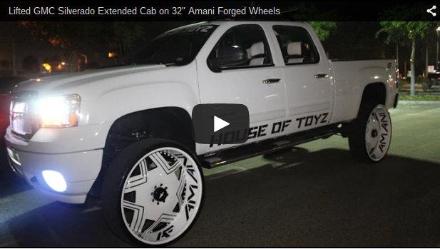 Lifted Gmc Silverado Extended Cab On 32 Quot Amani Forged Wheels Big Rims Custom Wheels