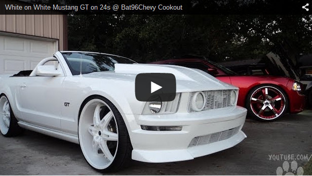 White On White Mustang Gt On 24s Big Rims Custom Wheels