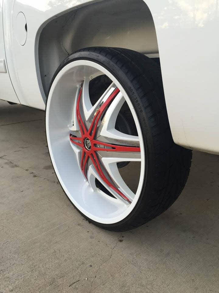 White On White Chevy Silverado On 30 Inch Diablo Wheels