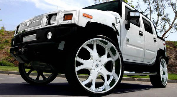 white  white hummer    big rims custom wheels