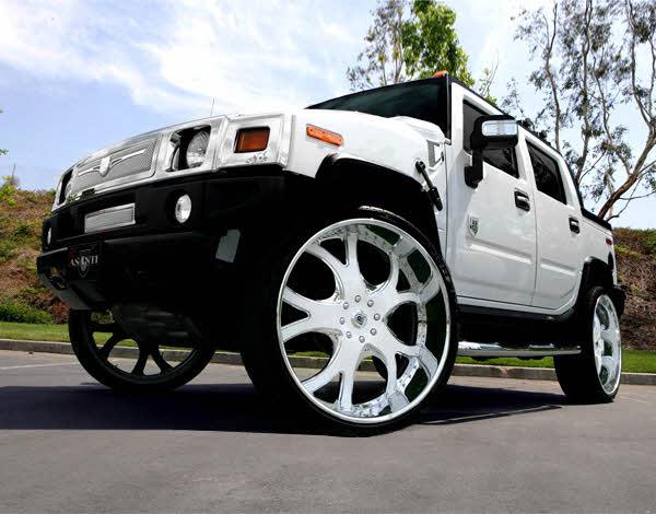 30 Inch Rims On Hummer H2 : White on hummer h s big rims custom wheels