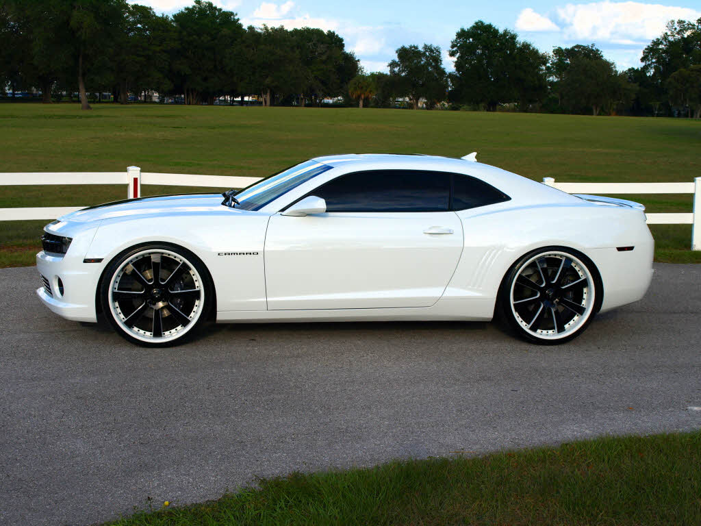 White Chevy Camaro 24inch Savini Wheels Big Rims