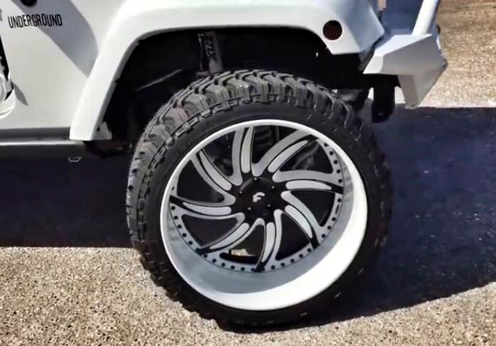 White Jeep Wrangler With Forgiatos And 37 Inch Mud Tires