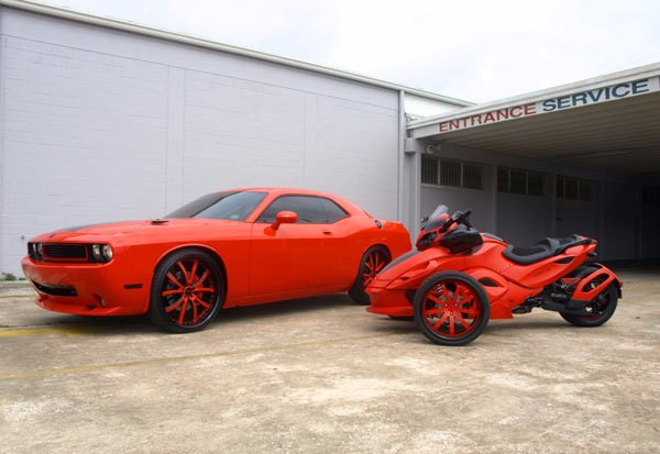 Dodge Challenger on 26's & Sick Can Am Spyder Motorcycle ...